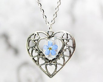romantic necklace heart jewelry blue forget me not for women love wife nature forget-me-not gift idea for her cute blue flower pendant Рю6