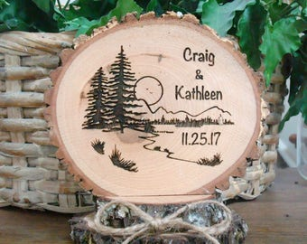 Rustic Cake Topper, Wedding Cake Topper, Nature Scene, Personalized Topper, Engraved Cake Topper, Wood Topper, Tree Cake Topper, Minimalist