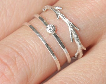 Silver Diamond Twig Ring Set    Conflict Free Diamond    Nature Inspired Rings