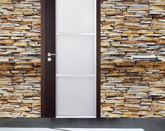 Stone Panel Seamless Wall Paper - Removable Peel and Stick Fabric Wallpaper Modern Wall Murals Office and Home Wall Covering  prt0066