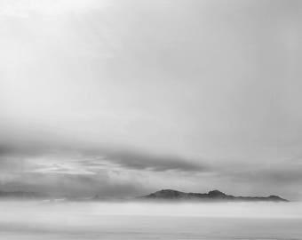Winter Fog BW Photograph, Antelope Island Utah, Photography, Digital Download Photography, Printable Art, Nature Photography,