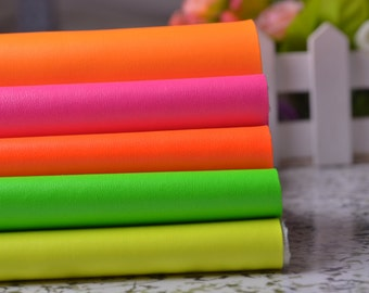27'' x 18'' Neon Solid Faux Leather Fabric For tassels making,Home Decor Furniture Upholstery Application,Bags/Purses Crafting,Zakka Fabric