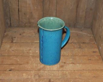 K Freemantle Pottery Handthrown  Coffee Mug Stunning Teal - 1901