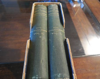 EXRARE Circa 1880 2 Volume Set The Count of Monte Cristo Alexandre Dumas 50 Illustrations George Routledge and Sons Wood Plates Good Escape