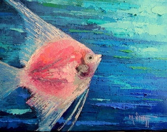 "Tropical Fish Oil Painting, Angelfish Painting, Textured Painting, 9x12x.75"" Original Art, Free shipping in us"