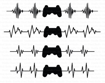 Heartbeat Game Controller SVG Files, Heart Beat Line svg Files for Silhouette Cameo and Cricut. Cardio Line SVG Files Clipart PNG included