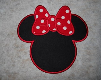 Made to order ~ Red Miss Mouse iron on or sew on applique patch