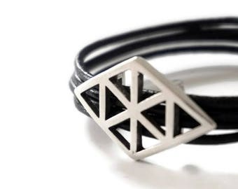 Lozo-metal silver-Rhombus-leather bracelet