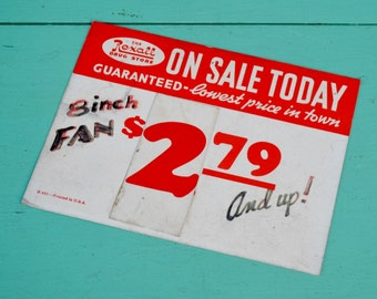 """Vintage Rexall Drug Store Sign Price Tag Sale Advertising 8"""" Fan Hand Lettered Red White Paper Ephemera Crafts Collage Art Scrapbooking"""