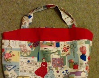 Beautiful handmade haberdashery themed craft bag.