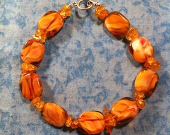 Swirled Amber Glass Bracelet