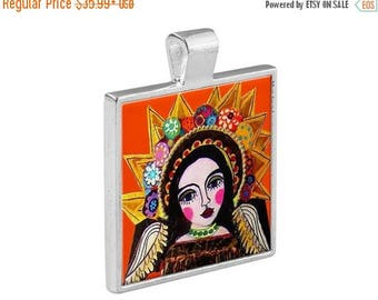 SALE ENDING- Virgin of Guadalupe Necklace Mexican Folk Art Jewelry - Pendant Metal  Gift Art Heather Galler Gift Vegan Gifts