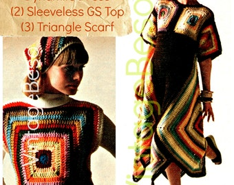 3 Boho Crochet Patterns • Retro 1970s • Chic Granny Square Dress Crochet Pattern Scarf Pattern Top Headscarf INSTANt DOWNlOAD • PdF Pattern