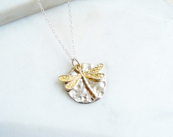 Hammered Silver Disc and Gold Vermeil Dragonfly Necklace