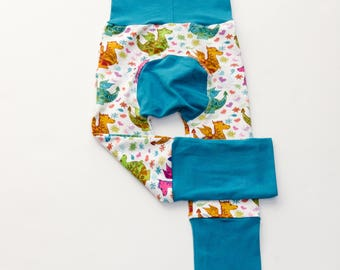 Dragons and Lilac/Dark Teal/Dark Green Baby Big Butt Pants - Grow with me pants - Cloth diaper friendly - Toddler - Gift
