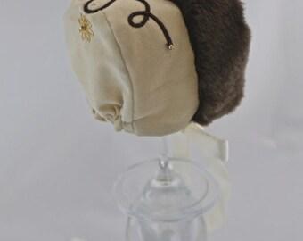 Christmas Baby Bonnet, newborn bonnet, baby bonnet, baby hat, baby gift- Natasha Bonnet