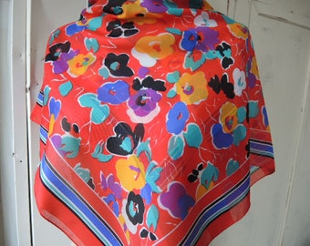 Vintage 1980s silk like polyester scarf red colorful floral flowers slightly sheer 31 x 31 inches