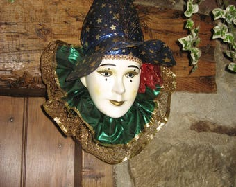 A Large Vintage Porcelain/Ceramic Hand Crafted Wall Hanging Face Mask ~ Clown / Teardrop/ Mardi Gras Mask