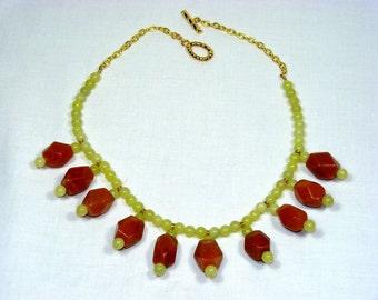 Adventurine and Lemon Jade Necklace