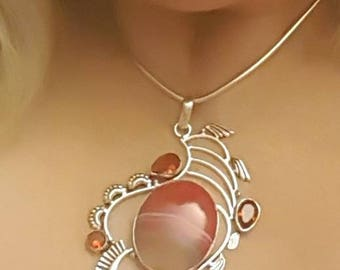 Botswana Agate and Garnet necklace sterling silver handmade pendant necklace 18in 2in extender chain