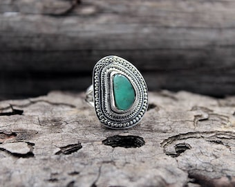 Chrysoprase & 925 Sterling Silver Ring • Size US 6.5/ FR 54 • Chrysoprase Jewelry • Bohemian Gipsy Ring • Gemstone Ring • Valentine Day Gift