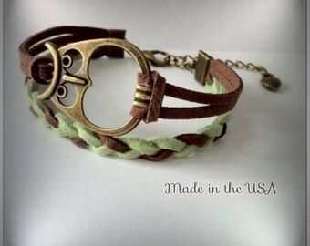 Owl Bracelet Owl Jewelry Charm bracelet Friendship bracelet Wisdom Suede Women's gift Women's jewelry Best Friend bracelet Adjustable