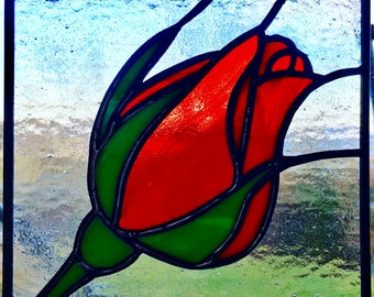 Stained glass red rose panel suncatcher MADE TO ORDER