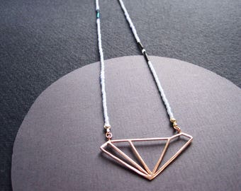 24ct rose gold vermeil asymmetric diamond pendant on fine glass beads