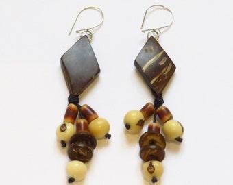Coconut and Acai seed earrings