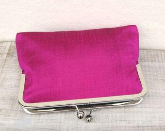 Fuchsia clutch, fuchsia bridal clutch bag, pink clutch, fuchsia bridesmaids clutch, evening clutch, peach clutch purse, bridesmaid gift, uk