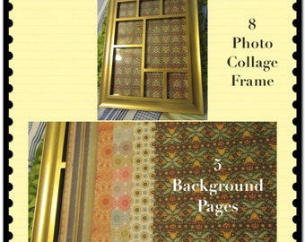 Collage Frame 8 Photo Gold  Wooden-Vintage  5 Background Papers Home Decor Country Decor Cottage Chic Victorian Gift Wall Art Wall Hanging