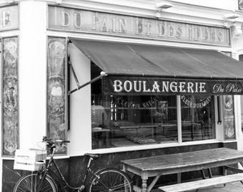 Paris Photograph, Bicycle at the Boulangerie, Black and White, Large Wall Art, French Kitchen Decor, Travel Photograph