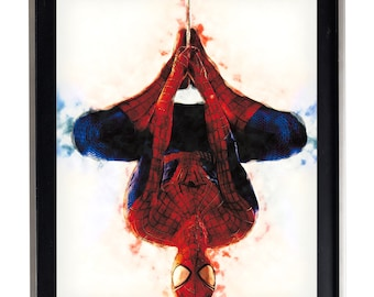 Watercolor Spiderman Art Print Matte Print Poster 16 x 20 Splatter