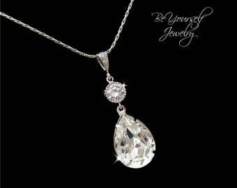 Bridal Necklace White Crystal Wedding Necklace Swarovski Crystal Teardrop Bride Pendant CZ Wedding Jewelry Bridesmaid Gift Cubic Zirconia