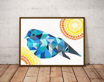 Blue Bird - Geometric Art - Geometric Animal - Bird Painting - Acrylic Painting - Abstract Art -  Animal Art - Home Decor