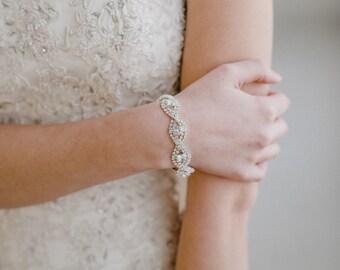 Silver Bridal Bracelet   Silver Cuff Bracelet   Crystal Wedding Bracelet   Silver Crystal Bracelet   Silver Wedding Cuff   Silver Chloe Cuff