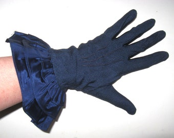 DECO Vintage Navy Blue Knit Net TAFFETA RUFFLE Tiered Fan Gauntlet Cuff Opera Formal Evening Gloves Fashion Couture Burlesque PinUp