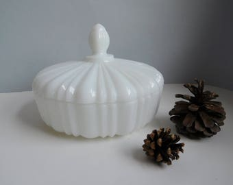 Vintage milk glass candy dish Fire King white candy dish