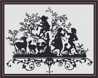 Blackwork Piper Cross Stitch Pattern