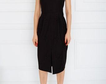 Hand embellished pinafore dress Black midi dress Embroidered dress Party dress Front split dress Evening dress Pencil skirt