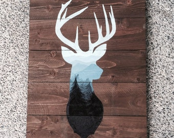 Mountain Landscape Deer Silhouette wood pallet painting