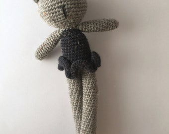 READY TO SHIP Dorothy Bear, handmade crochet teddy bear in grey Australian wool