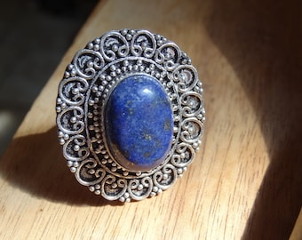 Sterling silver BLUE LAPIS Lazuli Ring Size 10 - Natural Stone Ring - Boho Chic ring size 10 Gemstone Ring - Natural Lapis ring size 10