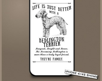 Bedlington Terrier dog phone case cover iPhone Samsung ~ Can be Personalised