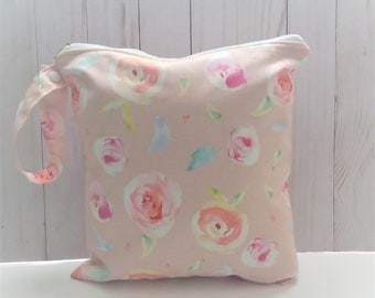 Mothers Day Gift Pink Wet Bag, washable waterproof bag, Swimsuit Bag, cloth diaper bag, Cosmetic Bag, Gift for Mom