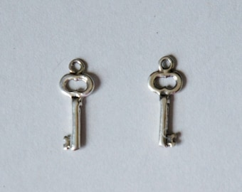 Sterling Silver Key Charm, 6x16mm, Tiny Key Charm, Fast Shipping from USA