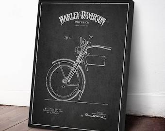 1925 Harley Davidson Patent, Harley Davidson Canvas Print, Harley Davidson Wall Art, Harley Davidson Home Decor, Gift Idea, TRBM07C