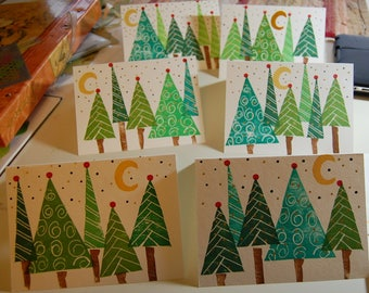Handmade Greeting Cards, Original Holiday Cards, Christmas Cards, Hand Stamped Cards, Pine Trees, Christmas Trees, Large Greeting Cards