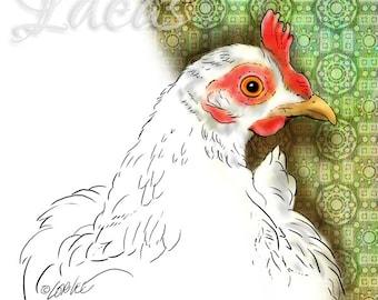 Chicken Digital Stamp | Hen Digital Stamp | Chicken Art Download | Farm Decor DigiStamp | Barnyard Chicken | Paper Craft Digital Scrapbook