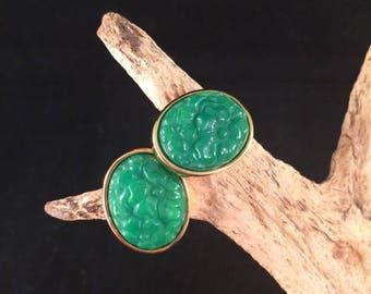 Vintage Lucite Faux jade clip on Earrings